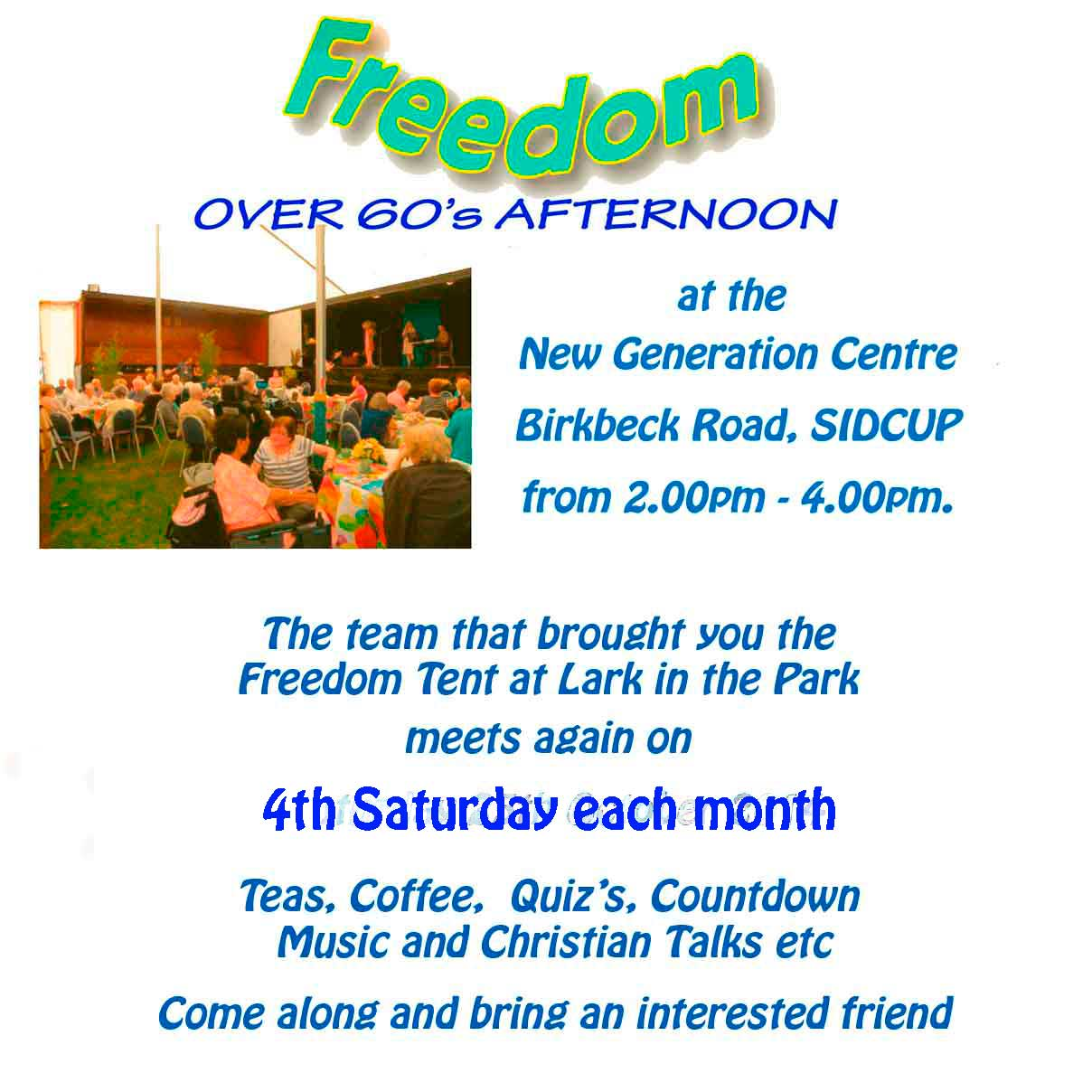 Lark in the Park Freedom (Over 60's) Afternoon